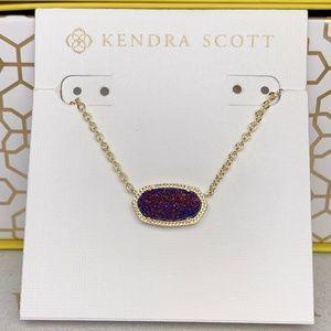 New Kendra Scott Elisa Gold Plum Drusy Necklace